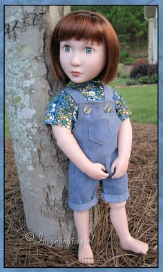 A Girl for All Time ~ Clementine's first outfit I made for her...my version of overalls/shortalls. I drafted my own patterns (Gayle Cox, aka Imgeorgiagirl). Features rolled up hem, buttoned shirt and shortalls, vintage shirt and denim fabric, top stitching , and real working pockets. She's ready to work in the garden now!