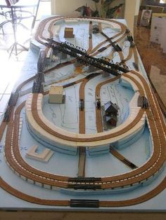 A N-Gauge layout in construction. Lots of little trains in not so very much room