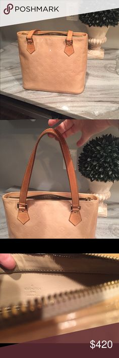 Authentic Louis Vuitton Houston Bernie bucket bag Lovingly used Houston Vern's bucket bag. Authentic LV and comes with dust bag.  Nice tanning on straps, one small spot on inside of one strap as shown in pic. Patent is in really good shape.  Just got an Alma GM for my birthday, so no longer need this one. Offers welcome. Louis Vuitton Bags Shoulder Bags