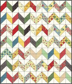 Charming Chevrons in American Jane School Days QA Tutorial by Christa Quilts Chevron Quilt Tutorials, Chevron Quilt Pattern, Quilt Patterns Free, Quilting Tutorials, Quilting Designs, Quilting Ideas, Chevron Fabric, Modern Quilting, Block Patterns
