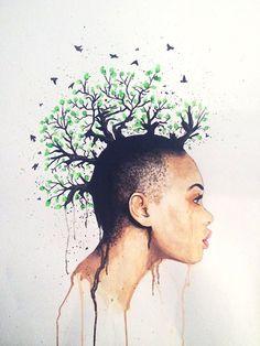 Watercolor painting Tree Punks 2 on gloss by JohnDoeHandmadeGoods