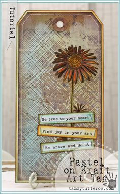 Tammy Tutterow | Pastel on Kraft Art Tag Tutorial featuring Distress Stain.