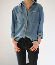 denim shirt and black jeans