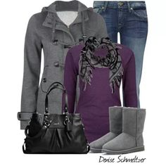 Uggs jeans and a tee perfect gray and purple casual