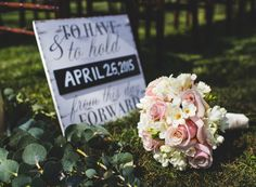Commerce, California Wedding Photographer Morgan-Raquel Photography - My Bridal Pix Network - Wedding signage rustic, flower bouquet