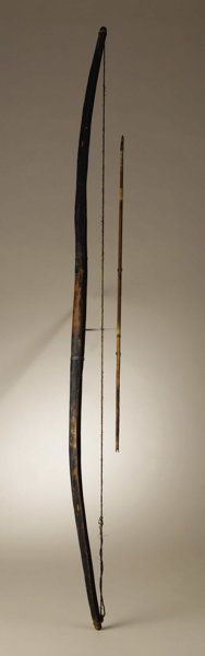 Native American:Weapons, Comanche Wood Bow and Arrow, captured at Fort Brown, Texas, 1846.Length 51 3/4 in. bow; Length 27 in. arrow.. The carved ...