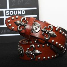 fashion vintage skull punk rivet genuine leather strap ,hiphop pin buckle  cowhide belt,YG021 482a972c32d