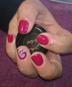 Biosculpture gel overlays with swirly design feature nails