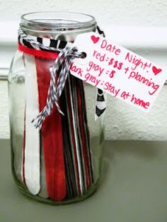 Date Night Ideas (color coded for costs money/need planning, doesn't cost a lot, and stay at home). Have guests at the wedding suggest date night ideas so you never stop dating. Date Night Jar, Cadeau Couple, Just In Case, Just For You, Do It Yourself Inspiration, My Sun And Stars, Arts And Crafts, Diy Crafts, Love And Marriage