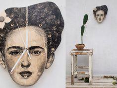 Hand Painted Frida Kahlo Art Clock Original Art by Cataholics