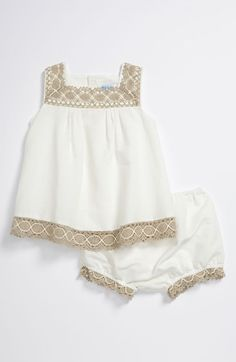 Free shipping and returns on Luli & Me Dress (Infant) at Nordstrom.com. Wavy crochet infuses vintage charm on a classic-cut dress with diminutive pleats.  A matching diaper cover completes the delightful set.