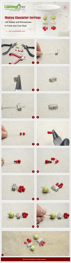 Making Chandelier Earrings with Beads and Rhinestones in Fresh and Cool Style
