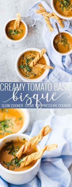 Creamy tomato basil bisque easy and fast to make. Made with all fresh ingredients and lots of creamy flavor. A family and crowd pleaser!