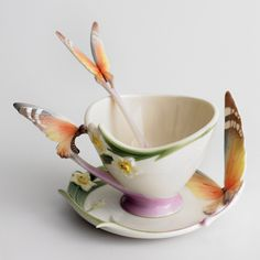 Porcelain Butterfly Cup Saucer Spoon by Franz Porcelain. Hand painted and gorgeous!