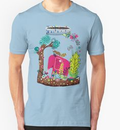 Pink Elephant in Wilderness | Playing in Nature by Gordon White | RedBubble Unisex Baby Blue TShirt | All Sizes Available for Men and Women @redbubble @RedHillStudios