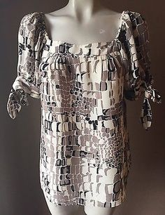 NANETTE LEPORE SILK SQUARE NECK KNOTTED SLEEVES TOP SHIRT BLOUSE SZ 2