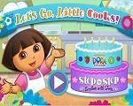 Em Dora Little Cooks, Dora está treinado para participar de um grande concurso de cozinheiros na TV. E ela precisa muito de sua ajuda para se tornar uma grande chef. Ajude Dora prepara um delicioso bolo decorado, seguindo passo a passo da receita. Divirta-se com Dora!