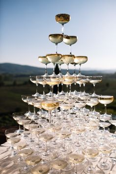 Champagne tower: http://www.stylemepretty.com/destination-weddings/italy-weddings/2016/01/26/classic-romantic-destination-wedding-in-tuscany/ | Photography: Stefano Santucci - http://tastino0.it/
