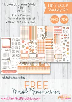 Free Printable Apricot Butterflies and Blossoms Weekly Planner Stickers {subscription required}. See more at www.pinkpixelgraphics.com