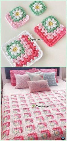 Crochet Mitered Granny Square Blanket Free Patterns #CrochetBlanketsEasy