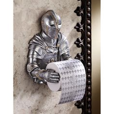 Design Toscano Toilet Paper Holder - Medieval Knight to Remember Gothic Bathroom Decor - Toilet Paper Roll - Bathroom Wall Decor - Funny Toilet Paper Holder, Toilet Paper Humor, Unique Toilet Paper Holder, Toilette Design, Man Cave Accessories, Bathroom Accessories, Gothic Accessories, Wall Mounted Toilet, Medieval Knight
