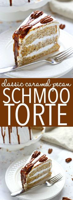 This Classic Caramel Pecan Schmoo Torte is a delicious and classically Canadian layer cake with a pecan-flavoured Angel Food Cake base, fluffy whipped cream frosting, and homemade caramel sauce! It's sweet and decadent and makes the perfect impressive dessert! Recipe from thebusybaker.ca! #schmootorte #canadiancake #caramelpecancake via @busybakerblog