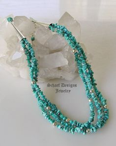 Schaef Designs Campitos turquoise & sterling silver 3-strand adjustable necklace  | New Mexico