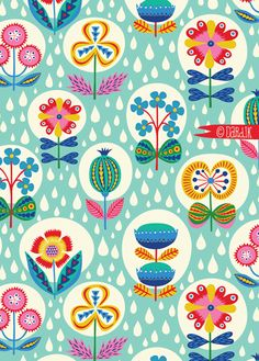 Helen Dardik It's raining today. I have no excuse not to be working. but, before I start, I thought I'd show you this rainy garden pattern I made. Warm colours for a warm summer rain repeat:). Pretty Patterns, Flower Patterns, Surface Pattern Design, Pattern Art, Motif Vintage, Illustrator, Pattern Illustration, Botanical Illustration, Textile Patterns