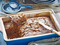 Self-saucing pudding recipe, gooey caramel sauce pools around a light banana sponge studded with buttery pecans and dates.