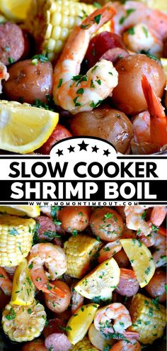 This recipe is a winner! With just a handful of ingredients, you can have an easy Slow Cooker Shrimp Boil that is bursting with flavor. Find out what you can serve with this main dish for the BEST… Easy Family Meals, Quick Easy Meals, Family Recipes, Easy Main Dish Recipes, Easy Recipes, Food Dishes, Main Dishes, Southern Recipes, Southern Food