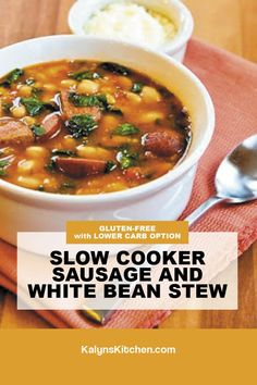 Best Soup Recipes, Chili Recipes, Slow Cooker Recipes, Crockpot Recipes, Great Recipes, Recipes Using Beans, Slow Cooker Kielbasa, Beans And Sausage, Legumes Recipe