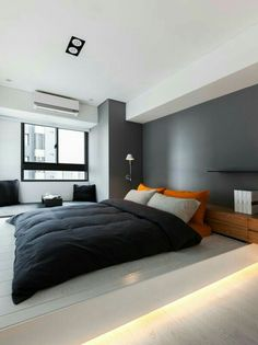Bedroom grey darkblue and light