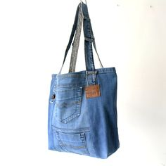 large recycled jeans bag with two original hidden pockets on the back!, everyday bag, canvas bag, beach bag, casual tote bag by Lowieke on Etsy