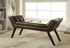 CM-BN6199 Wesby Leatherette Bench Sporting a contemporary design in either flax fabric upholstery or stylish leatherette, this bench offers luxury paired with comfort. Available in two sizes and seven colors.• Contemporary Style • Black Legs • Nailhead Trim • Leatherette or Flax Fabric • Solid Wood