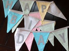 Custom Happy Birthday Banners // Fabric Bunting // You pick the colors!!   By Bobbin's Lullaby