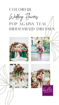 Colorful Wedding Flowers Pop Agains Teal Bridesmaid Dresses | A Wedding Planner and Florist Designs Her Own Dream Wedding Day During COVID Pandemic - Belle The Magazine | bridesmaids | bridesmaids dresses | colorful wedding | summer wedding | spring wedding | wedding flowers | fresh wedding inspiration | wedding ceremony | wedding reception Romantic Wedding Decor, Floral Wedding, Wedding Colors, Wedding Bouquets, Wedding Flowers, Wedding Ceremony, Our Wedding, Dream Wedding, Wedding Things