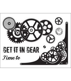 """Technique Tuesday Clear Stamps 3""""X4""""-Get It In Gear"""