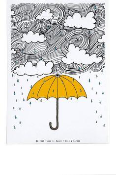 Articles similaires à Le parasol jaune - Illustration par : Taren S. Black sur Etsy