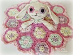 Bunny lovey blanket with african flower motifs by Smartapple Creations