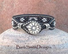 Silver Green Sage Leather Wrap Bracelet The by BarbSmithDesigns