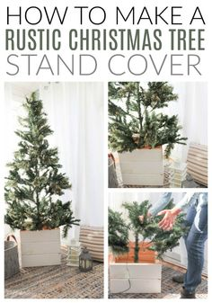 How to make a rustic Christmas tree stand cover. A full tutorial for how to build a rustic DIY Christmas Tree Stand Cover from scrap wood; plus the hack I use to make it easy to store after the holidays! Christmas Tree Base Cover, Rustic Christmas Tree Stands, Christmas Tree Stand Cover, Christmas Trees For Kids, Merry Christmas, Country Christmas Decorations, Ribbon On Christmas Tree, Xmas Tree, Christmas Diy
