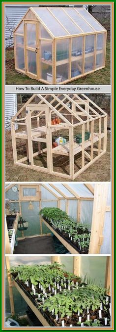 tutorial to build a simple everyday greenhouse on your own with simpler stuff that you might get for a few dollars.A tutorial to build a simple everyday greenhouse on your own with simpler stuff that you might get for a few dollars. Outdoor Projects, Garden Projects, Build Your Own Shed, Grow Your Own, Greenhouse Gardening, Greenhouse Ideas, Small Greenhouse, Greenhouse Wedding, Homemade Greenhouse