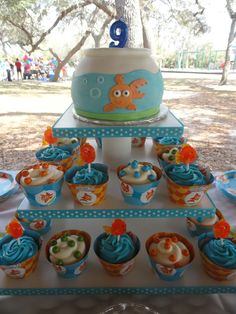 Cake and cupcakes I made for Emily's goldfish birthday party