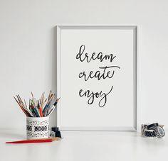 Dream Create Enjoy Printable Poster by PixieDustDigital on Etsy