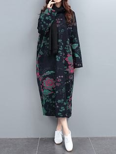 Floral Printed Cocoon Retro Style Loose Long Sleeve Robe Dress Shopping Online - NewChic