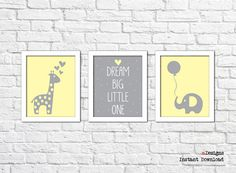 Printable Nursery Wall Art Set of 3 Printable by eDesignss on Etsy Bathroom Wall Decor, Nursery Wall Art, Wall Art Sets, Dream Big, Kids Room, Elephant, Printables, Unique Jewelry, Frame