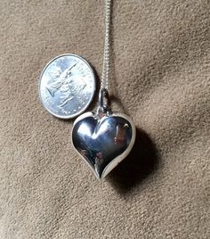 Large Sterling Silver Puffed Heart Pendant & Chain,Handmade Heart Pendant,Vintage Heart Pendant,Silver Heart,Love Pendant,#EtsyUSA,#Etsy