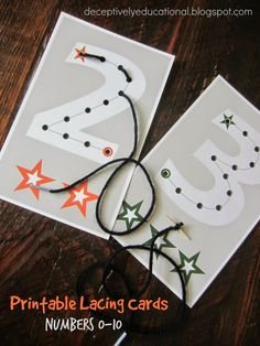 Fine motor skills need practice and learning numbers takes practice, so voila. I made some number lacing cards for my little guy.   You can download a PDF of these free 0-10 Lacing Cards from Google Drive here.   I printed ours on heavyweight cardstock...