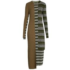 Maison Margiela Striped Mixed-knit Wool-blend Dress (53,545 INR) ❤ liked on Polyvore featuring dresses, knit dress, maison margiela, stripe knit dress, stripe dresses and brown striped dress