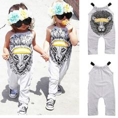 Lion Cartoon Printed Romper 2017 Cute Kids Baby Girl Stylish Cartoon Romper Jumpsuit Body suit Sunsuit Clothes Outfits 0-5Y #Affiliate